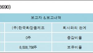 [ET투자뉴스][한국화장품 지분 변동] (주)한국화장품제조 외 8명 52.95% 보유