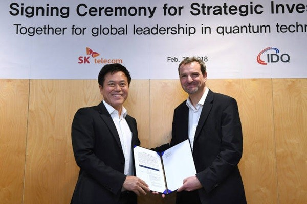 President Park Jung-ho of SK Telecom and CEO Gregoire Ribordy of IDQ agreed on acquisition of IDQ in Barcelona, Spain.
