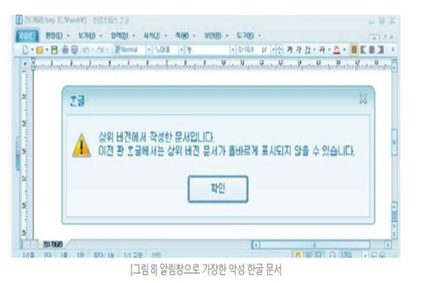 Contaminated Hangul document that is disguised as a notification window (Reference: AhnLab)