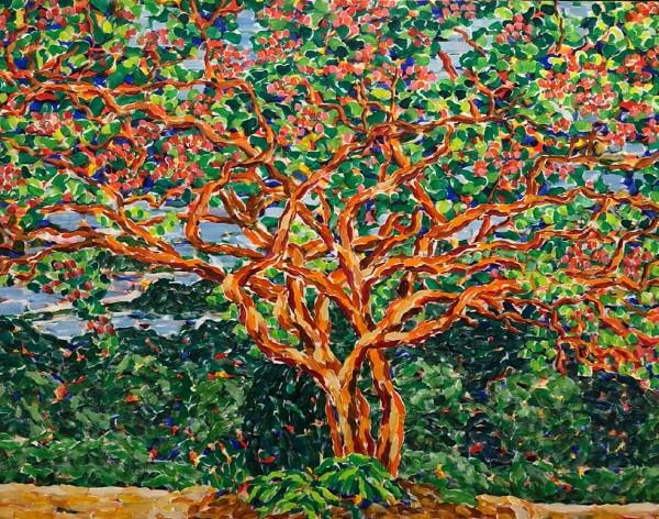 '백련사 배롱나무(강진), 116.8×91.0cm, Acrylic on canvas, 2015'. 사진=갤러리 바이올렛 제공