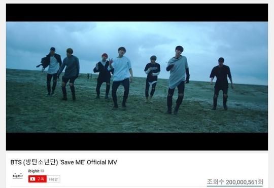 방탄소년단, 'Save ME'도 가뿐히 2억뷰 돌파...벌써 여섯번째