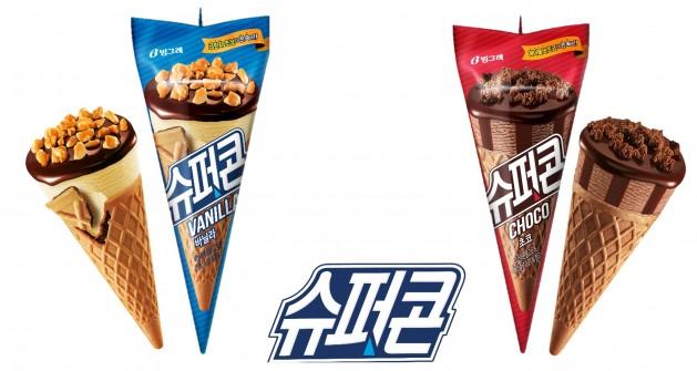 빙그레가 절치부심(切齒腐心) 끝에 콘 형태의 아이스크림 '슈퍼콘' 2종(바닐라·초코)을 최근 선보였다. 사진=빙그레 제공