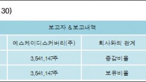 [ET투자뉴스][SK케미칼 지분 변동] 에스케이디스커버리(주) 외 8명 27.16%p 증가, 27.16%
