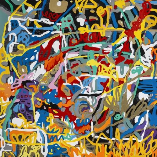 'Hommage to Beethoven's String Quartet(베토벤 현악 사중주곡에 대한 헌정), 120×120cm, mixed media on canvas, 2018'. 사진=송태라 제공