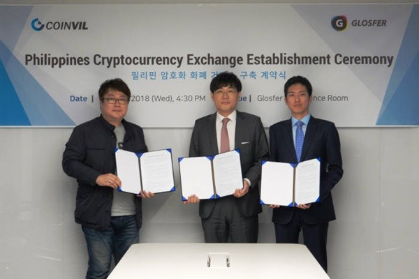 GLOSFER made an announcement that it signed off on a MOU with COINVIL for operation of a cryptocurrency exchange in Philippines.  Vice-President (Starting from the left) Kim Byung-cheol of GLOSFER and CEO Park Rae-hyun of COINVIL took a commemorative picture.