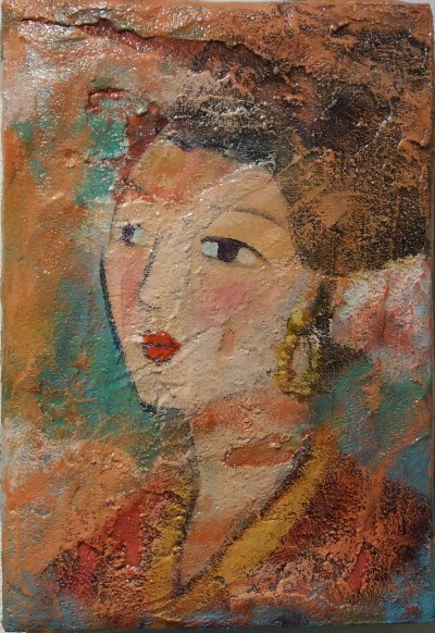 '비천(飛天, Floating Dreams), 25.8×17.9cm, Acrylic on wood pannel'. 사진=박경순 제공