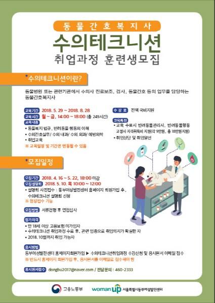 동부여성발전센터, 국비지원 '수의테크니션' 교육생 모집