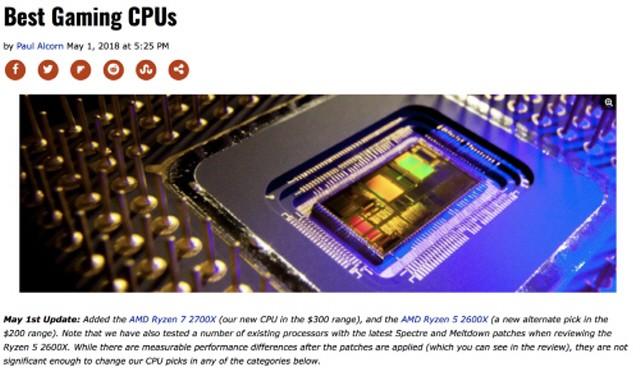 라이젠7 2700X, 하드웨어 전문 미디어 탐스 하드웨어 베스트 게이밍 CPU로 선정