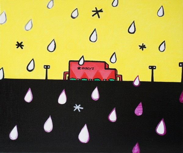 'Macys At Rainy Day, 45.5×37.9cm, acrylic on canvas, 2018'. 사진=김미경 제공