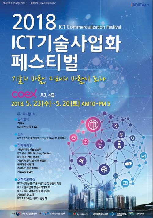 '2018 ICT 기술사업화 페스티벌' 23일부터 코엑스서 개최