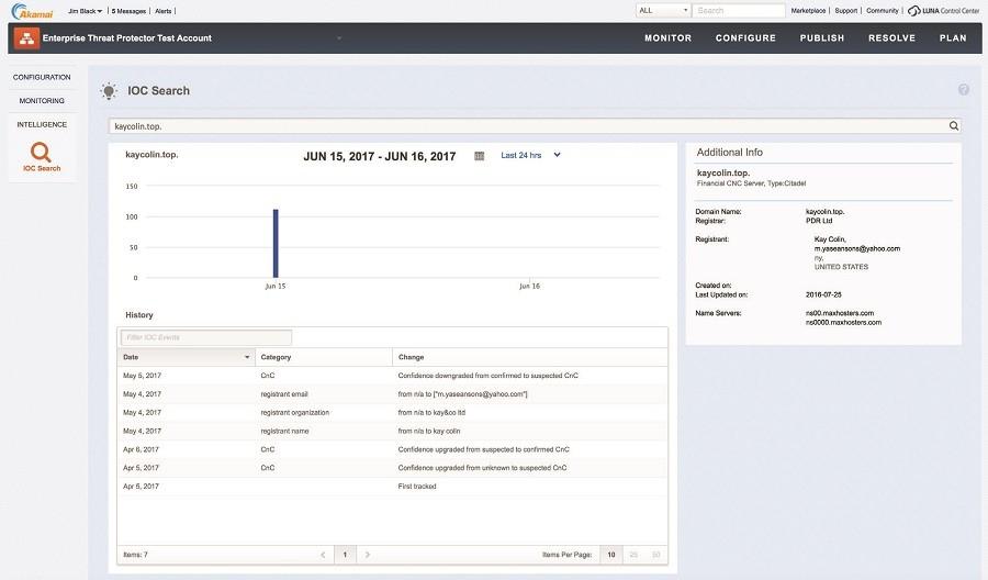 아카마이 보안 데이터베이스로 도메인 이름과 침해지표를 확인할 수 있다.
