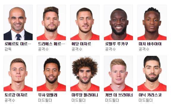 사진=네이버 2018 러시아월드컵 '벨기에 선수단' 캡처