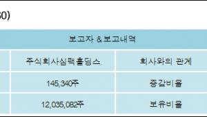 [ET투자뉴스][SIMPAC 지분 변동] 주식회사심팩홀딩스0.5%p 증가, 32.86% 보유