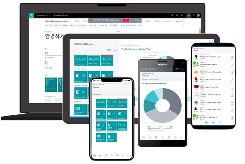 '마이크로소프트 다이나믹스 365 비즈니스 센트럴'은 PC, 태블릿, 모바일 등 다양한 디바이스에서 윈도우, iOS, 안드로이드 등 운영체제에 관계없이 사용할 수 있다.