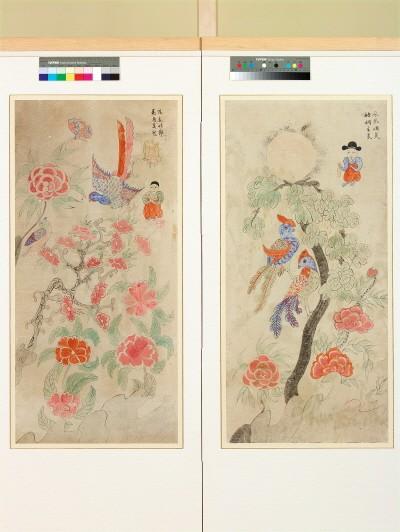 '화조인물도(花鳥人物圖), 19세기 중반, 종이에 채색, 97×41cm'. 사진=예술의전당 제공