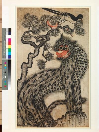 '까치호랑이(虎鵲圖), 19세기 후반, 종이에 채색, 80×48cm'. 사진=예술의전당 제공