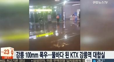 강릉역 빗물에 잠겼다..'폭염→호우경보 침수피해 호소'