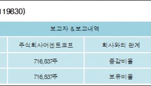 [ET투자뉴스][아이텍반도체 지분 변동] 주식회사어센트코프11.22%p 증가, 11.22% 보유