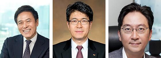왼쪽부터 SK텔레콤 박정호 사장, 박진효 ICT기술원장, 김윤 AI센터장
