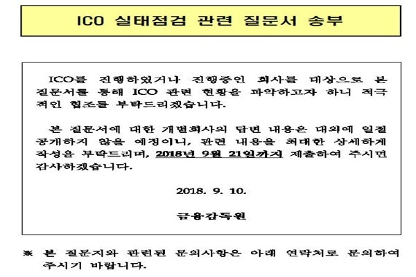 Financial Supervisory Service's written inquiry sent to ICO companies