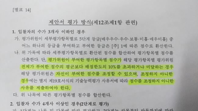 조달청 협상에 의한 계약 제안서 평가 세부기준 [별표14]