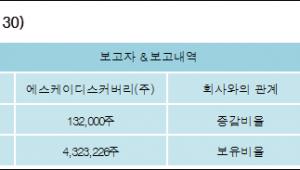 [ET투자뉴스][SK케미칼 지분 변동] 에스케이디스커버리(주)1.01%p 증가, 30.14% 보유