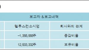 [ET투자뉴스][텔루스 지분 변동] 텔루스컨소시엄-1.56%p 감소, 14.44% 보유