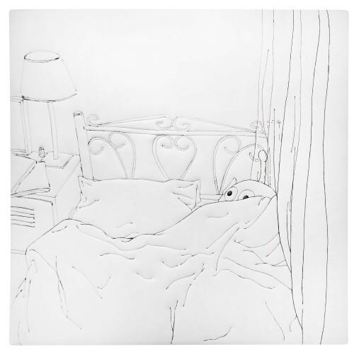 '거실 침대, 130×130cm, 재봉틀로 드로잉, 2015'. 사진=롯데갤러리 제공