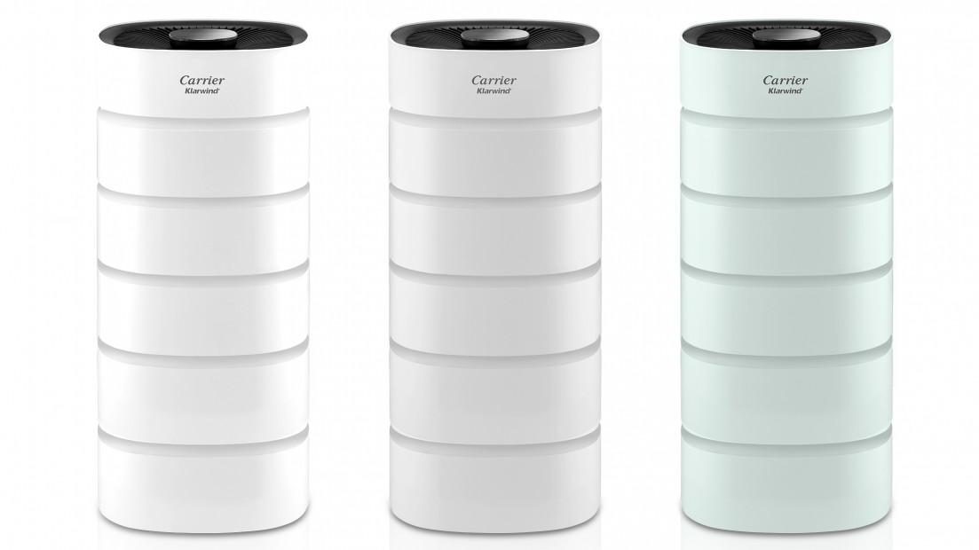'캐리어 클라윈드 공기청정기 에어원(AIR ONE)' 사진. 왼쪽부터 화이트, 라이트그레이, 블루민트 색상