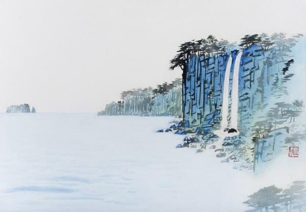 '정방폭포, 50×72.5cm, 아사천에 수묵채색, 2015'. 사진=갤러리두인 제공