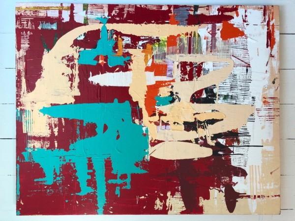 '미란, 100×80cm, Improv, Yes and then, 아크릴, 엣지코트, 명주실(증조할머니 유품), 2018'. 사진=심려진 제공