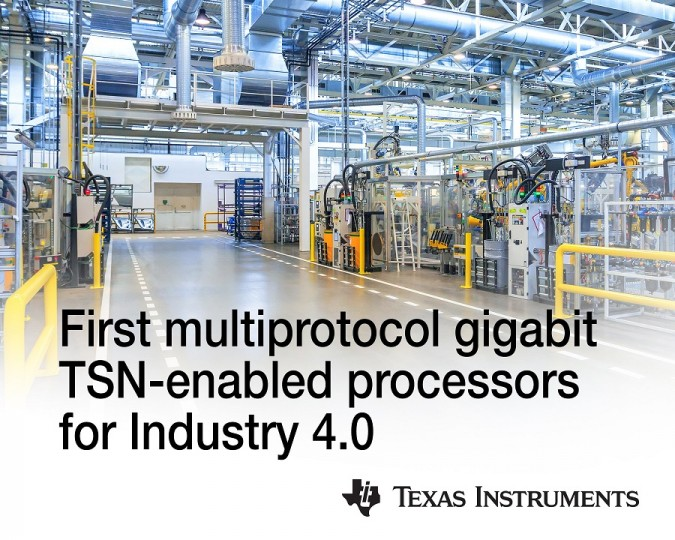 TI, 첨단 산업용   다중 프로토콜 기가비트 TSN 가능 프로세서 출시