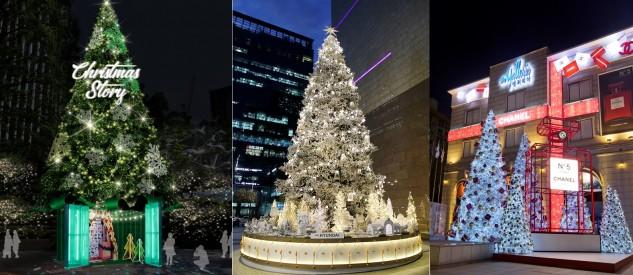 (사진 왼쪽부터) 롯데백화점, 현대백화점, 갤러리아 2018년 크리스마스 트리. 사진=각사 제공