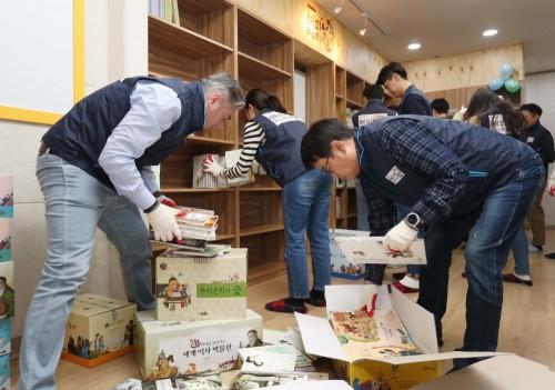 오비맥주는 서울 금천구 가산동에 지역 아이들의 방과후 학습 공간인 해피 라이브러리를 오픈했다. 사진=오비맥주 제공
