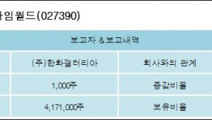 [ET투자뉴스][한화갤러리아타임월드 지분 변동] (주)한화갤러리아 외 2명 0.02%p 증가, 69.52