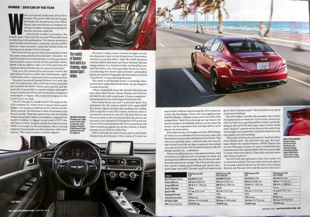 모터트렌드가 제네시스 G70을 '올해의 차'로 뽑은 이유는?