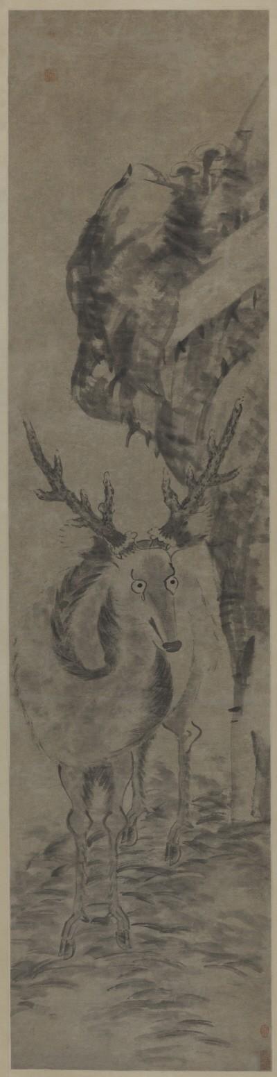 팔대산인 '사슴, 180.5×44.5cm, 중국국가미술관'. 사진=예술의전당 서예박물관 제공