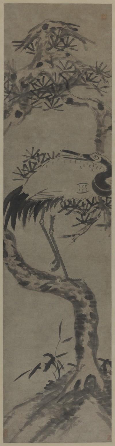 팔대산인 '학, 180.5×44.5cm, 중국국가미술관'. 사진=예술의전당 서예박물관 제공