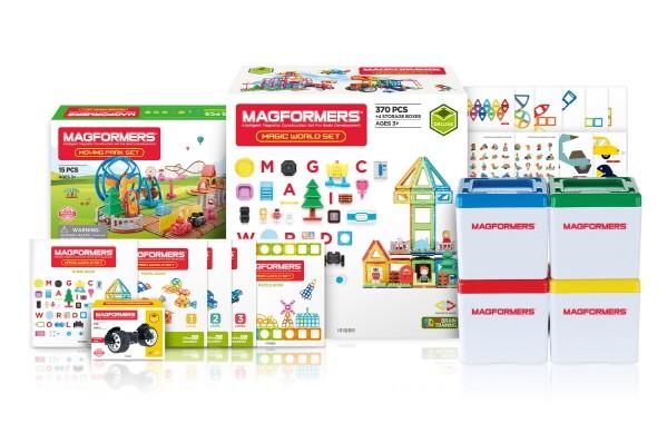 글로벌 영·유아 놀이 프로그램 및 프리미엄 교구를 개발, 유통하는 '한국짐보리㈜짐월드'가 오는 11일 '맥포머스 매직 월드(Magic World) 세트'를 현대홈쇼핑에서 선보인다고 밝혔다. 사진=한국짐보리㈜짐월드 제공