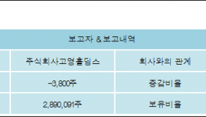 [ET투자뉴스][고영 지분 변동] 주식회사고영홀딩스 외 8명 -0.03%p 감소, 21.1% 보유