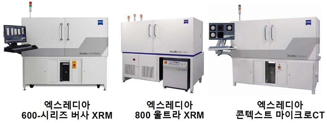 자이스 서브마이크론과 나노급 패키지 FA 작업에 사용되는 엑스레디아 600 시리즈 버사(Xradia 600-series Versa), 엑스레디아 800 울트라 엑스레이 현미경(XRM), 새로운 엑스레디아 콘텍스트 마이크로CT(Xradia Context microCT)