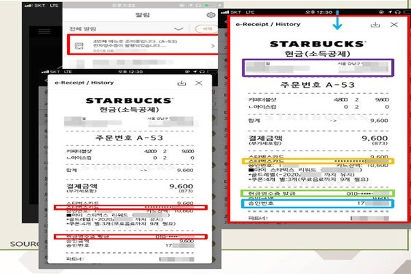 Screenshot of an electronic receipt within Starbucks application