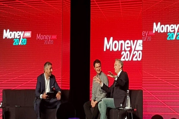 First day of Money 20/20 Asia had a panel debate on topics such as digital asset and new banking generation.  (Starting from the left) Henri Arslanian from PricewaterhouseCoopers, Founder Jed McCaleb of Stellar, and Vice-President Jesse Lund of IBM are having a debate.
