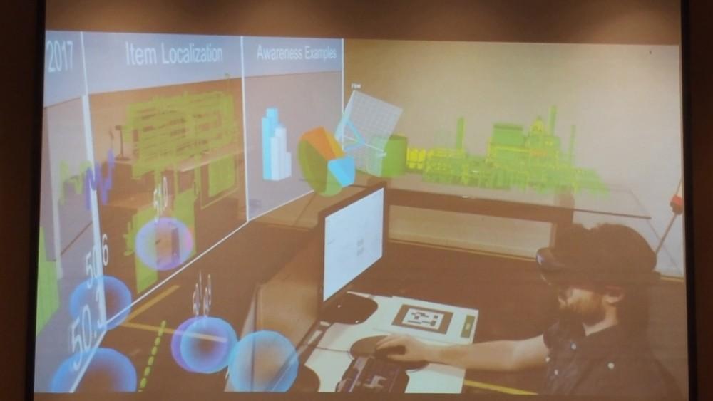 27일 슈나이더일렉트릭 기자간담회에서 소개된 아베바(AVEVA)의 증강현실 기반 스마트팩토리 기술