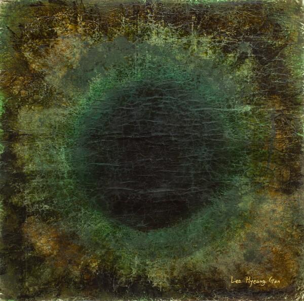 '떨림과 울림_37, 130×130cm, 장지, 분채, 옻칠'. 사진=이형곤 제공