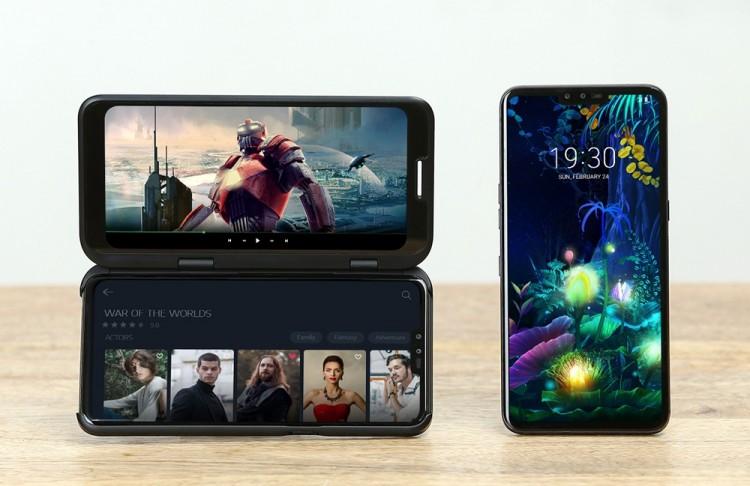 LG 듀얼 스크린(왼쪽)과 LG V50 씽큐 [사진=LG전자]