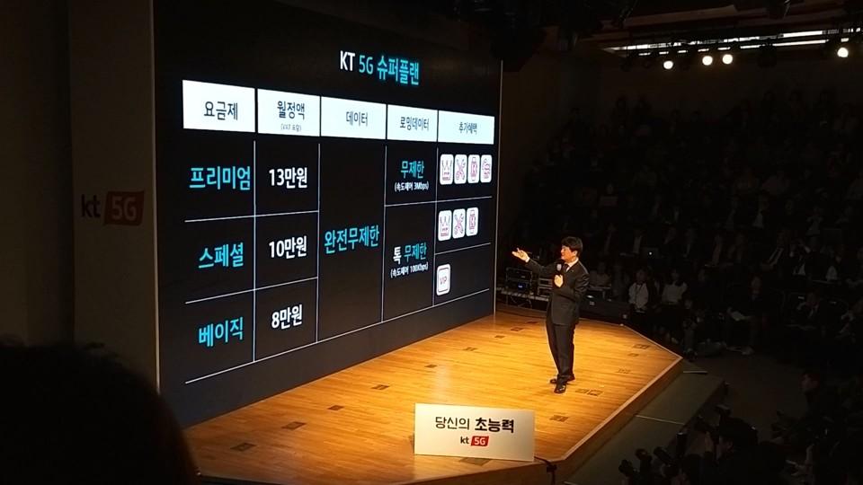 박현진 KT 5G사업본부장 상무가 KT 5G 슈퍼플랜 요금제를 소개하고 있다.