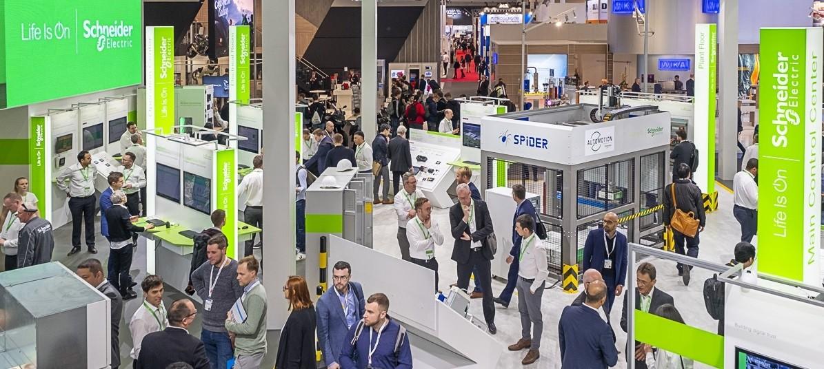 슈나이더일렉트릭이 독일 '하노버 메세 2019'에 참가했다. 사진은 슈나이더 일렉트릭 전시 부스.