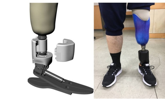 한국기계연구원 대구융합기술연구센터 우현수 의료지원로봇연구실장 연구팀이 개발. 상용화에 성공한 스마트 로봇의족 개념도(왼쪽). 실제 출시되는 제품 사진(오른쪽) 의족을 착용.