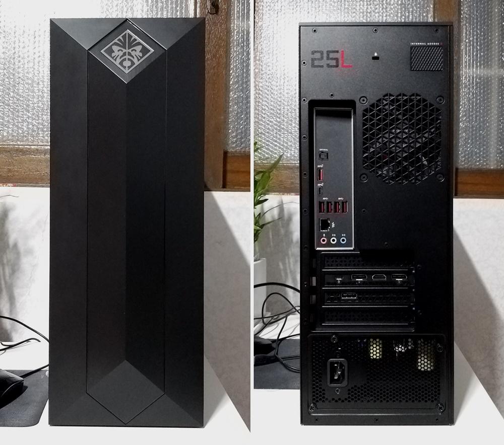 전면(왼쪽)은 오벨리스크가 연상되는 디자인이 인상적이다. 후면(오른쪽)에는 단자와 부품이 위치한 곳을 제외하고 통풍구가 마련된 모습이다. 유선 단자의 경우, (왼쪽 위부터)S/PIDF, A형 USB 3.1(2세대), C형 USB 3.1(2세대), A형 USB 3.1(1세대) 4개, 유선 인터넷 단자(RJ-45), 마이크·오디오 입·출력 단자, 썬더볼트, HDMI/디스플레이 단자 등이 나열돼 다양한 유선 연결을 지원하고 있다.